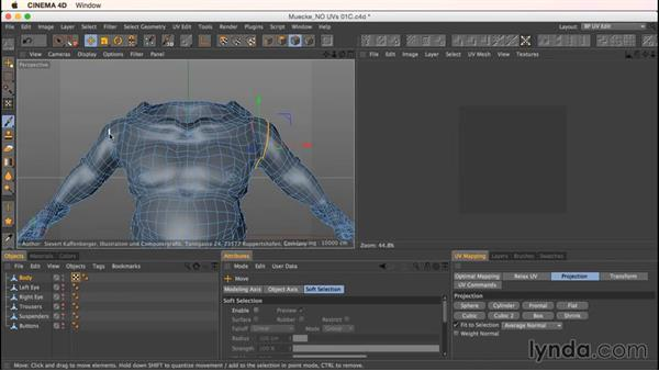 Making proper cuts on the Mookie model: Up and Running with Bodypaint in CINEMA 4D