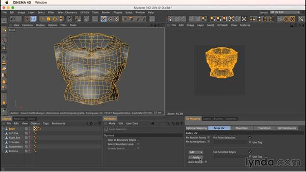 Unwrapping Mookie's main body: Up and Running with Bodypaint in CINEMA 4D