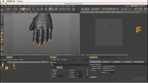 Unwrapping Mookie's arms and hands: Up and Running with Bodypaint in CINEMA 4D
