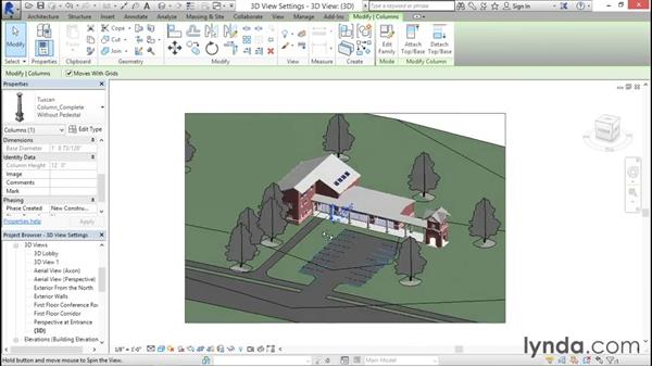 Working with axonometric view settings: Rendering with Revit