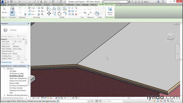 Adding gutters and fascia: Rendering with Revit