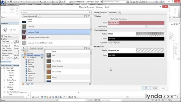 Upgrading files with materials: Rendering with Revit