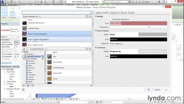 Creating a new material: Rendering with Revit