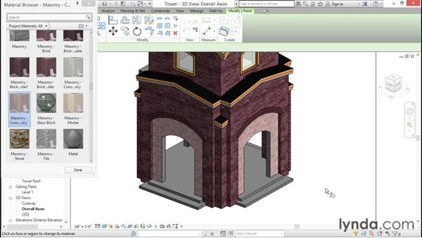 Overriding material assignments: Rendering with Revit