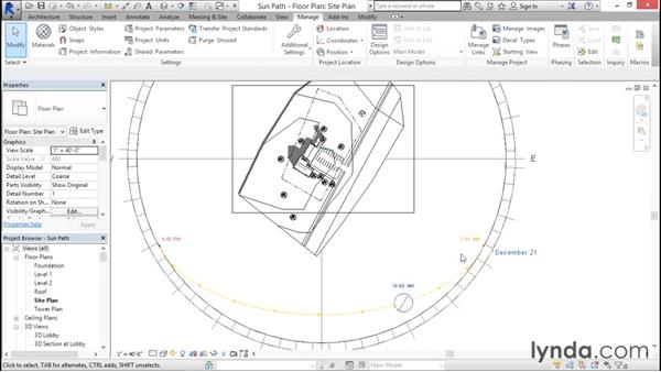 Working with the sun path: Rendering with Revit
