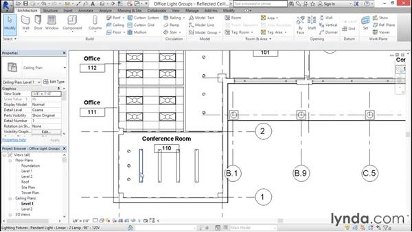 Working with lighting groups: Rendering with Revit