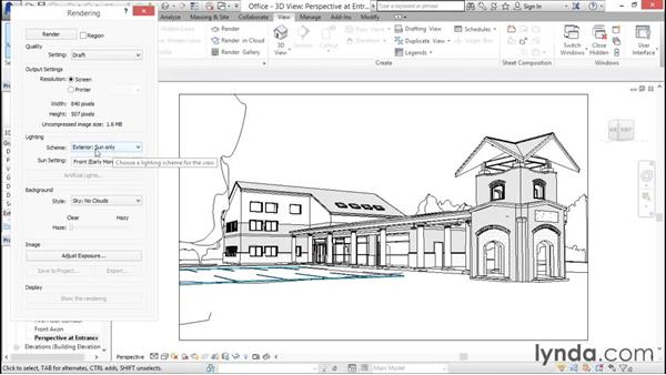Understanding the rendering process: Rendering with Revit