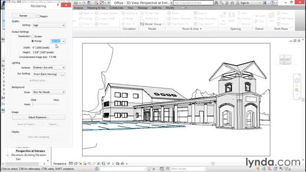 Configuring the resolution: Rendering with Revit