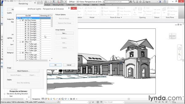 Choosing a lighting scheme: Rendering with Revit