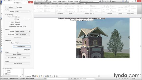 Applying background settings: Rendering with Revit