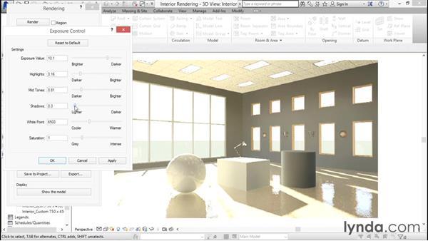 Adjusting the exposure controls: Rendering with Revit