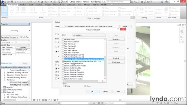 Generating rendered output: Rendering with Revit