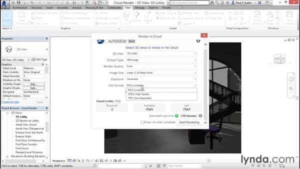 Preparing a cloud render: Rendering with Revit
