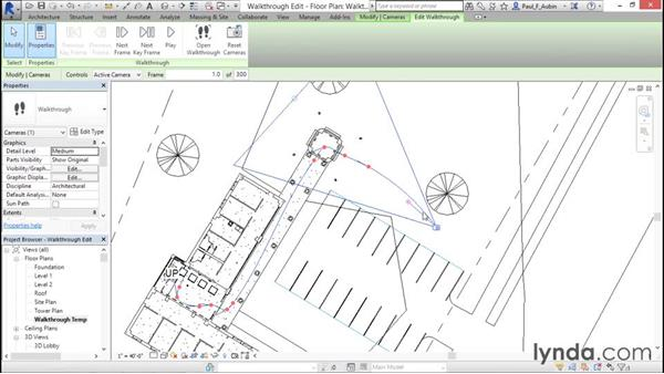 Editing a walkthrough: Rendering with Revit