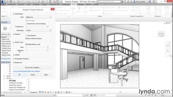 Using sketchy lines and other graphic display options: Rendering with Revit