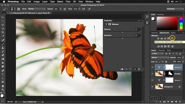 Clipping an adjustment layer to a single layer: Photoshop CC Adjustment Layer and Blend Mode Workshop