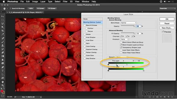 Using advanced blending options: Photoshop CC Adjustment Layer and Blend Mode Workshop