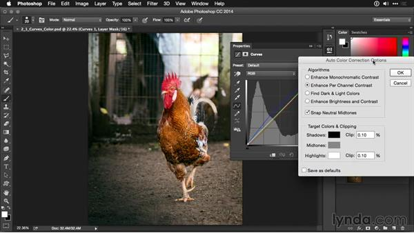 Removing color cast with Auto Curves: Photoshop CC Adjustment Layer and Blend Mode Workshop