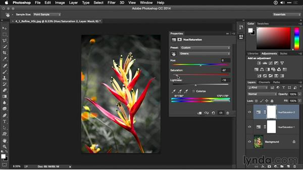 Refining a Hue/Saturation adjustment layer with the On Image tool: Photoshop CC Adjustment Layer and Blend Mode Workshop