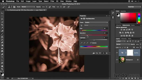 Creating duotones with a Hue/Saturation adjustment layer: Photoshop CC Adjustment Layer and Blend Mode Workshop