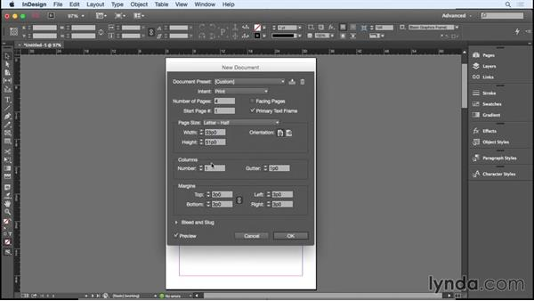 Setting up a single-fold document: Designing a Brochure