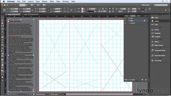 Creating a wireframe and adding text: Designing a Brochure
