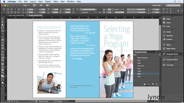 Styling the cover text and back panels: Designing a Brochure