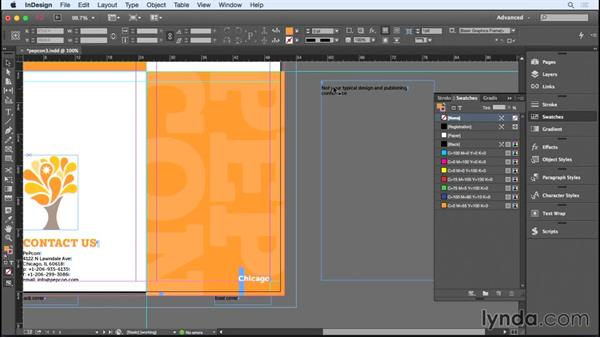 Creating the cover panel: Designing a Brochure