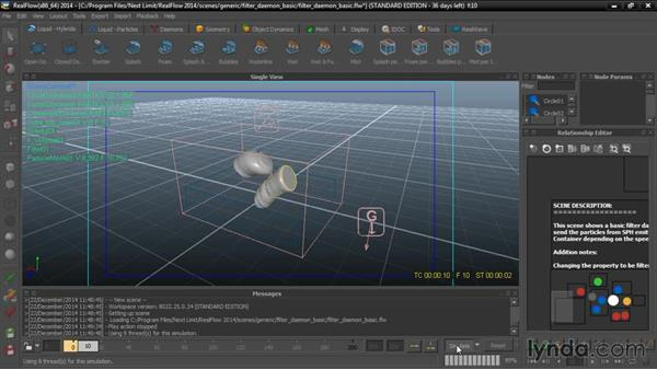 Analyzing the demo scenes: Up and Running with RealFlow