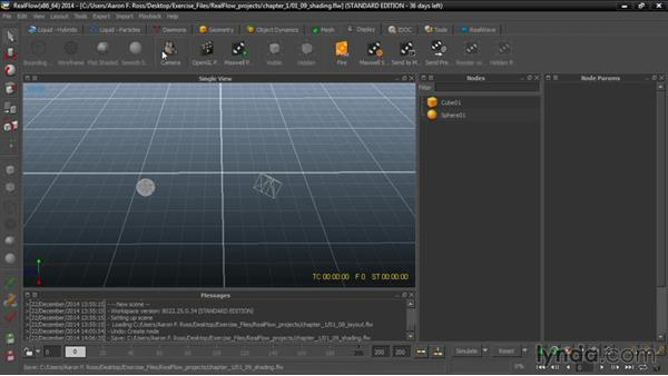 Choosing shading modes: Up and Running with RealFlow