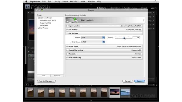 Exporting files: Lightroom 2 Essential Training