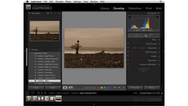 Using the Develop module presets: Lightroom 2 Essential Training