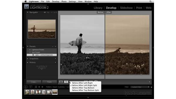 Comparing the before and after: Lightroom 2 Essential Training