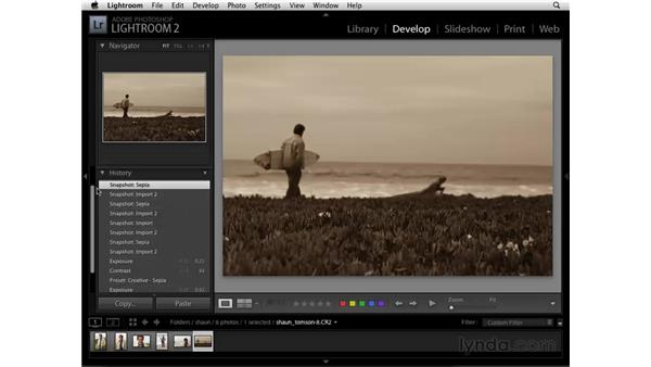 Using the Snapshots and History panels: Lightroom 2 Essential Training