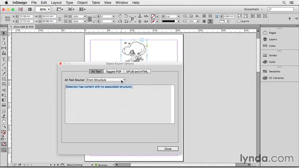 Adding alt text: Creating HTML Layouts with InDesign