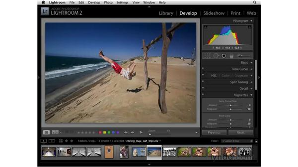 Straightening with the Crop tool: Lightroom 2 Essential Training