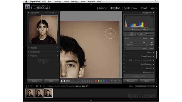 Retouching dust on a lens: Lightroom 2 Essential Training