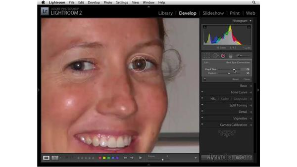 Fixing red-eye: Lightroom 2 Essential Training