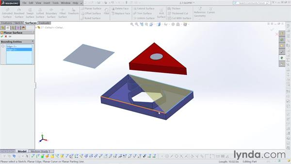 Making a planar surface: Surfacing with SOLIDWORKS