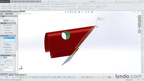 Adding in fillets: Surfacing with SOLIDWORKS