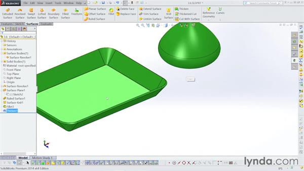 Thickening surfaces: Surfacing with SOLIDWORKS
