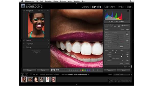 Whitening teeth : Lightroom 2 Essential Training