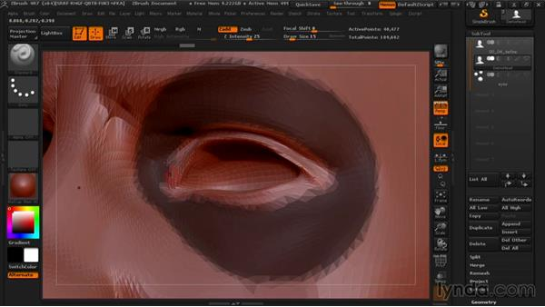 Defining flow zones with polygroups: Managing Edge Flow in ZBrush