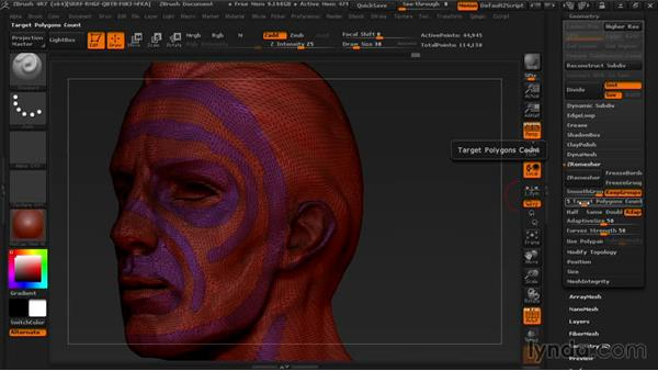 Using ZRemesher with polygroups: Managing Edge Flow in ZBrush