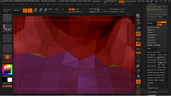 Using the ZModeler Brush to optimize the mesh: Managing Edge Flow in ZBrush