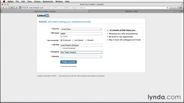 Setting up a new LinkedIn profile: Up and Running with LinkedIn
