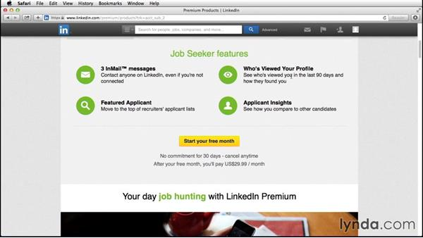 Exploring free vs. premium accounts: Up and Running with LinkedIn