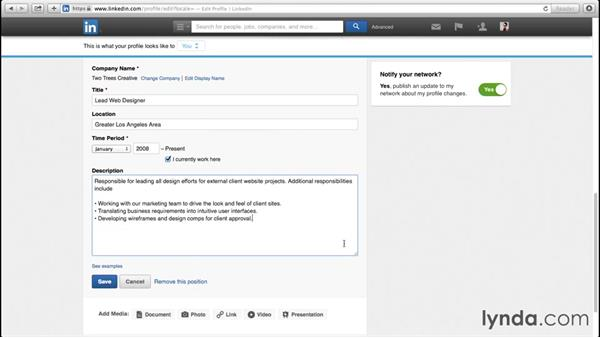 Adding work experience: Up and Running with LinkedIn