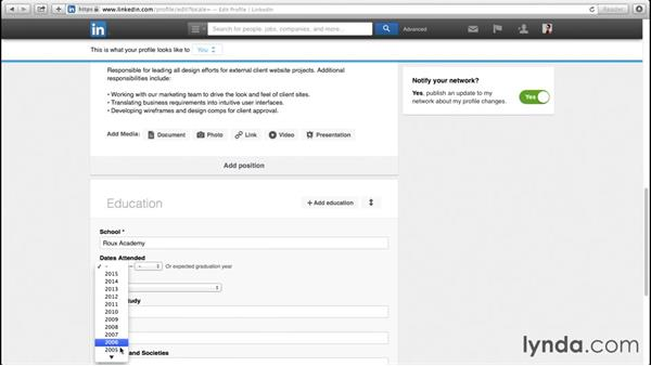 Adding education entries: Up and Running with LinkedIn