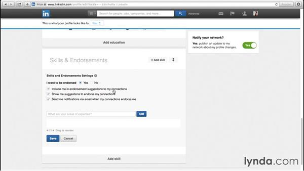 Working with skills and endorsements: Up and Running with LinkedIn